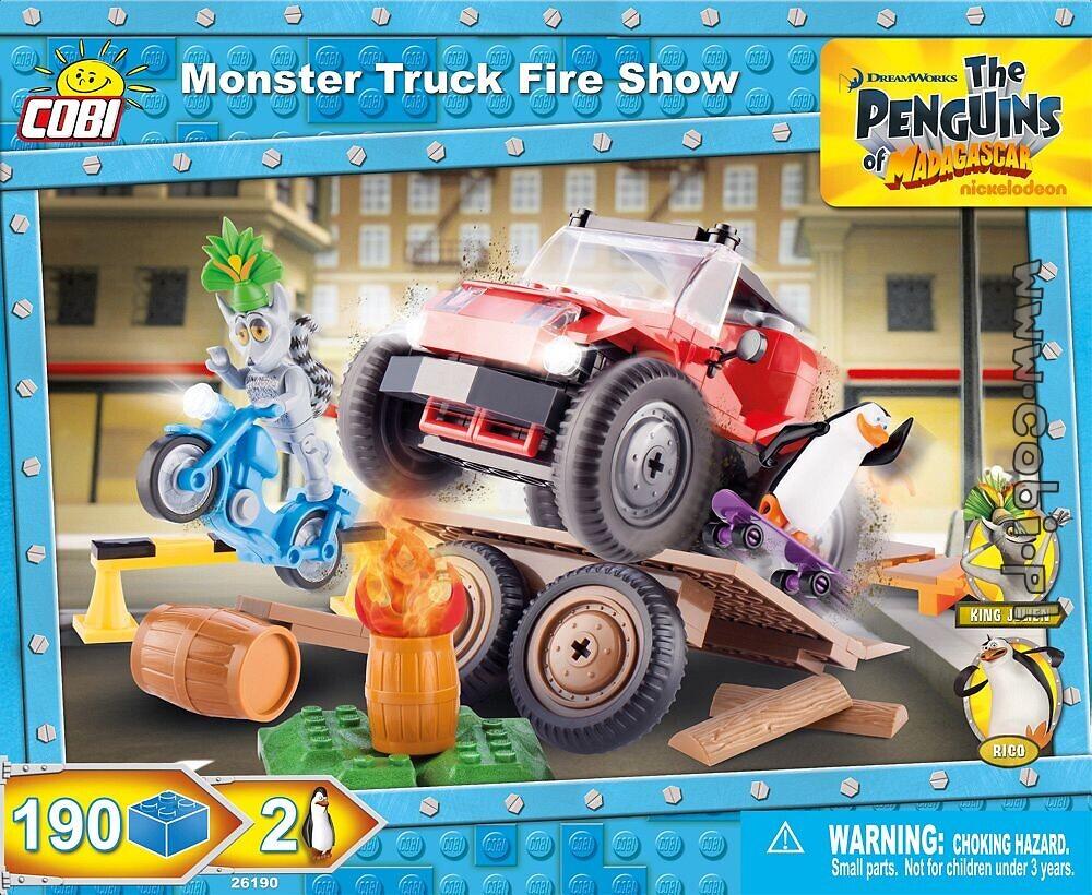 monster truck fire show penguins of madagascar for kids wiek