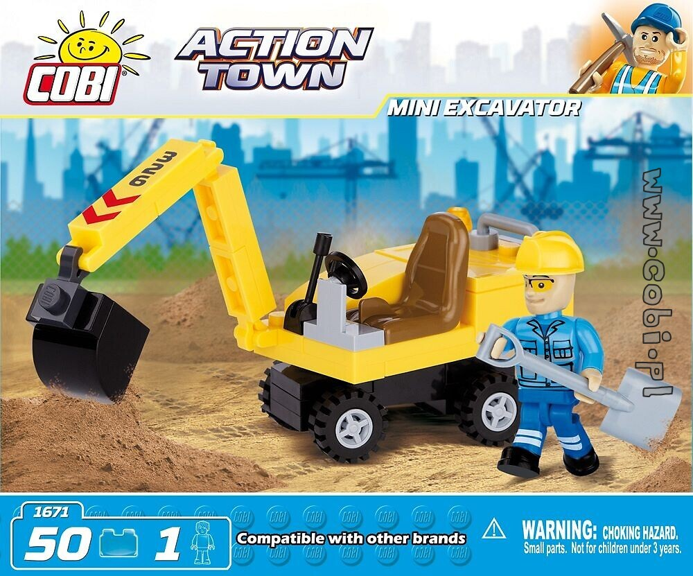 mini excavator action town for kids wiek cobi toys