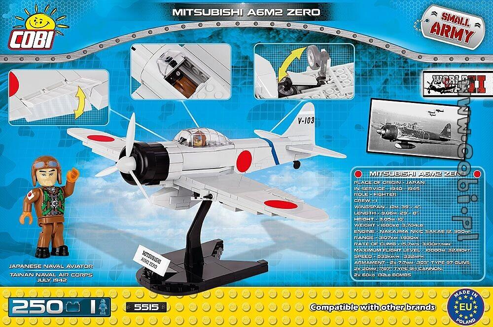 mitsubishi a6m2 zero - historical collection ww2 - for kids 5   cobi