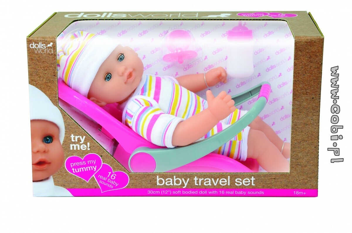 Lalka Baby Travel Set Dolls World 30 cm