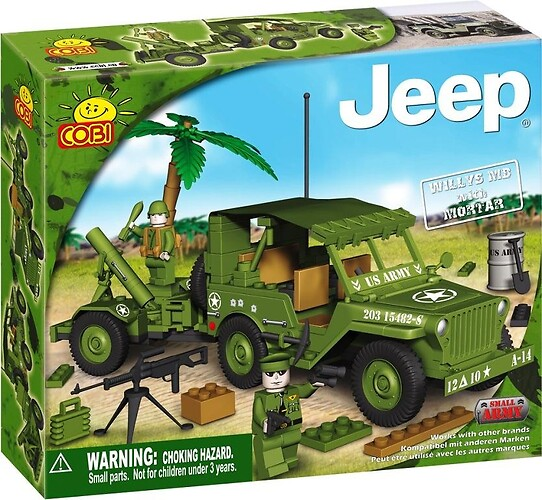 Jeep Willys MB with Mortar Small Army Cobi 24180