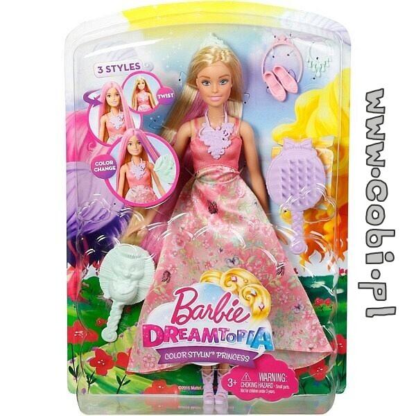 Barbie Księżniczki Kolorowe Fryzury Dwh41